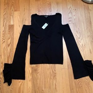 NWT Express Cold Shoulder Ruffle Sleeve Sweater